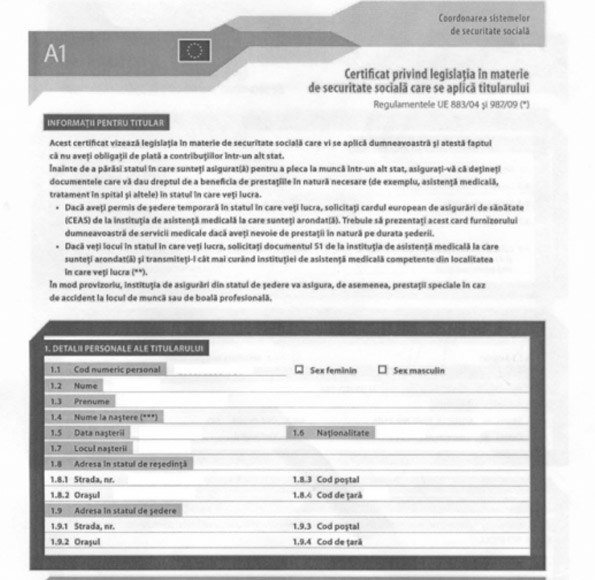 formularul a1 transportatori - servicii profesionale de contabilitate