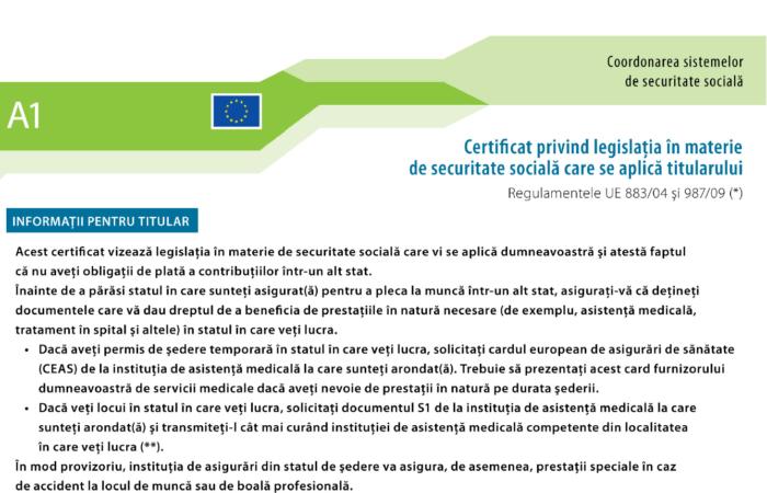 Documentul portabil A1 – Intrebari si raspunsuri – detasare - delegare